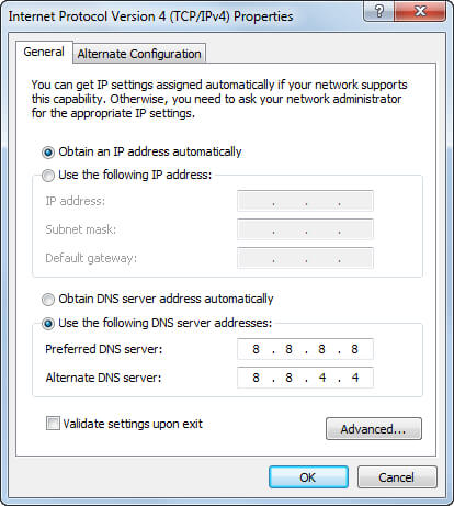 Windows DNS settings screengrab