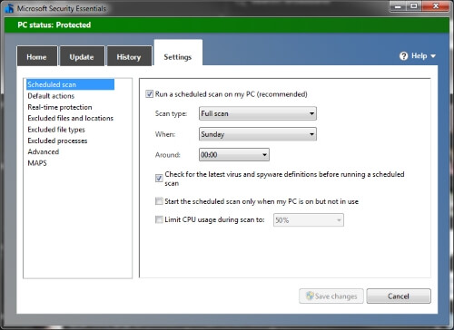 Screenshot of Microsoft Defender